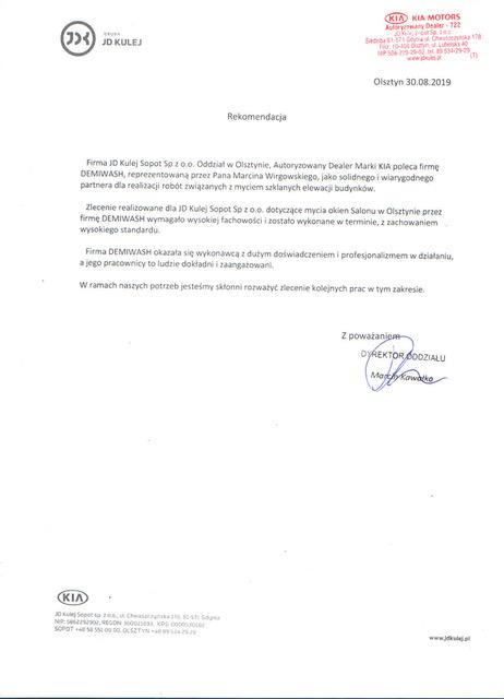 Demiwash - mycie ekologiczne Olsztyn - Rekomendacja od Dealera marki KIA
